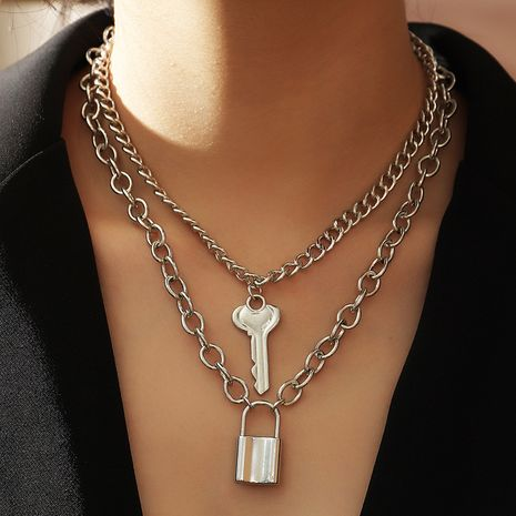 creative key lock pendant necklace simple double-layer necklace wholesale nihaojewelry NHNZ240229's discount tags