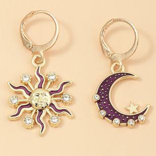 fashion  new retro sun moon  personality diamond earrings  wholesale   NHNZ240231's discount tags
