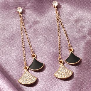 new  fashion micro inlaid fan-shaped tassel  light luxury temperament earrings wholesale  NHNZ240235's discount tags