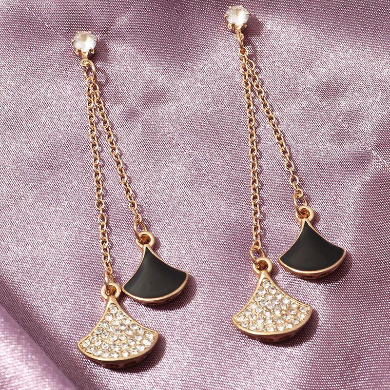 new  fashion micro inlaid fan-shaped tassel  light luxury temperament earrings wholesale  NHNZ240235