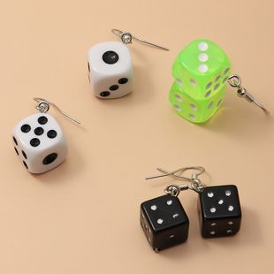 new fashion  creative fun transparent color plastic dice earrings 3 pairs set wholesale   NHNZ240237's discount tags