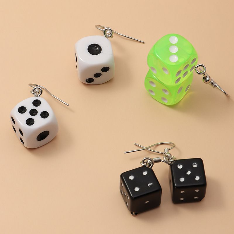 new fashion  creative fun transparent color plastic dice earrings 3 pairs set wholesale   NHNZ240237