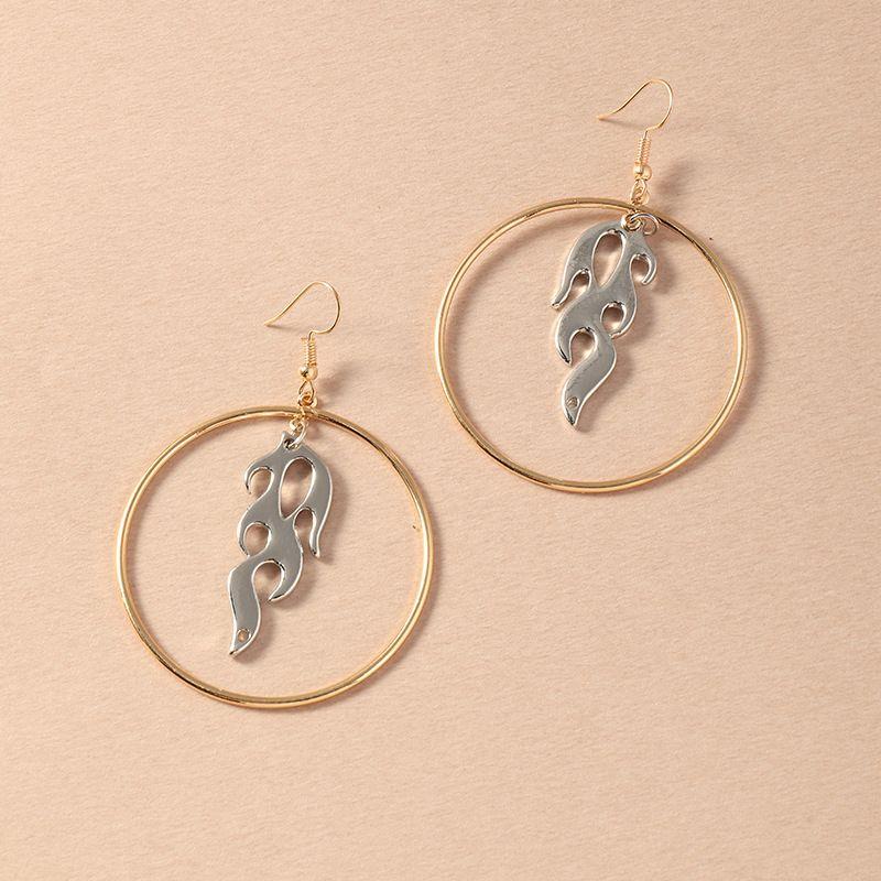 fashion personality flame pendant  simple geometric circle earrings wholesale  NHNZ240238
