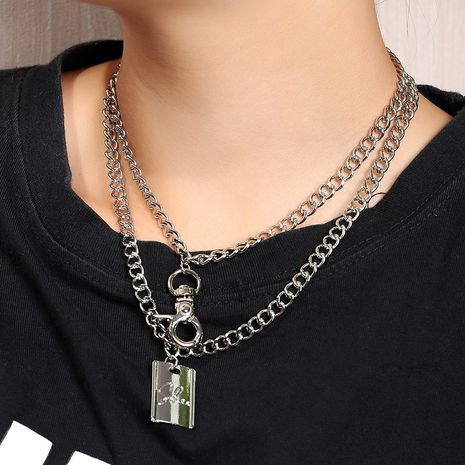 Double-layer Geometric Retro Hip Hop Trend Lock Letter Embossed Necklace wholesale nihaojewelry NHNZ240239's discount tags