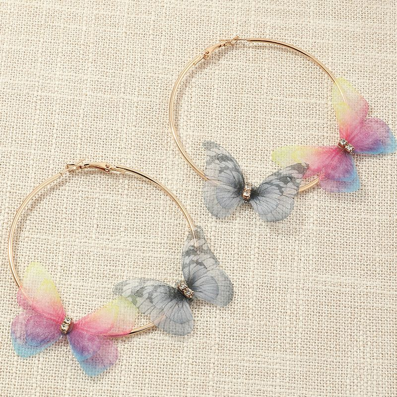 fashion super fairy circle  fantasy purple tulle butterfly earrings wholesale   NHNZ240240