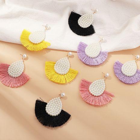 Bohemian style pearl fan-shaped tassel  retro temperament earrings wholesale   NHNZ240241's discount tags