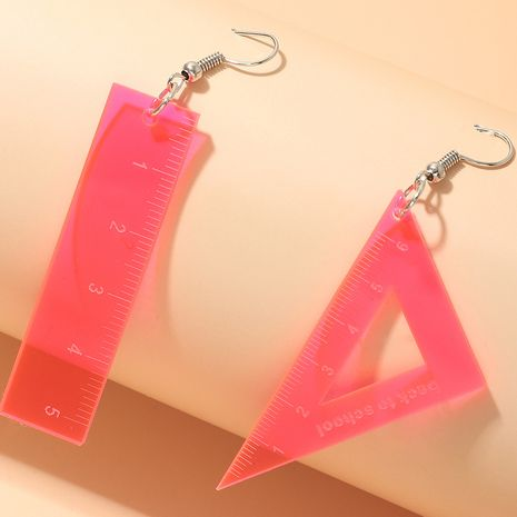 simple fashion transparent fluorescent color acrylic ruler triangle  fun earrings wholesale   NHNZ240245's discount tags