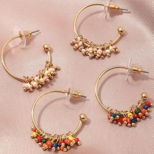 bohemian style color rice bead  wild temperament C-shaped earrings  wholesale   NHNZ240246's discount tags