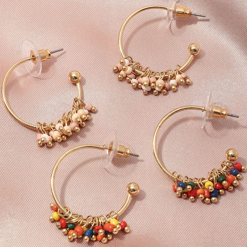 bohemian style color rice bead  wild temperament C-shaped earrings  wholesale   NHNZ240246
