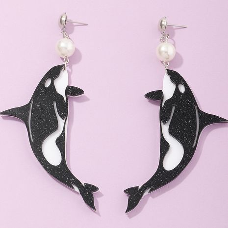 new fashion  dolphin acrylic  pearl earrings  wholesale   NHNZ240247's discount tags