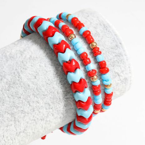 Fashion hot selling resin rice beads hip hop bracelet retractable adjustable red string jewelry wholesale nihaojewelry NHJE240265's discount tags