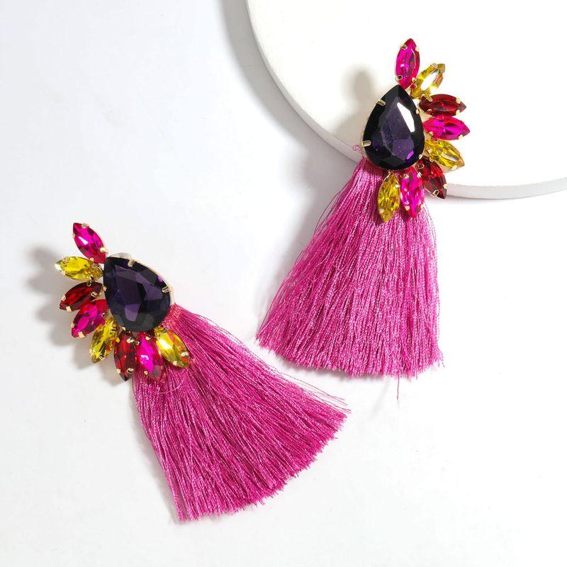 new fashion  exaggerated  alloy  diamond long tassel  bohemian earrings NHJE240266