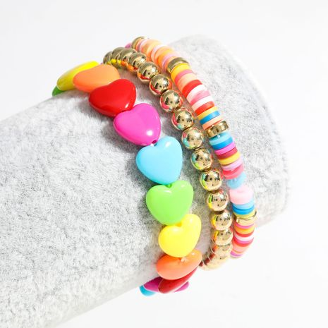 colorful soft ceramic disc beads love resin hip hop bracelet three-piece jewelry wholesale nihaojewelry NHJE240267's discount tags