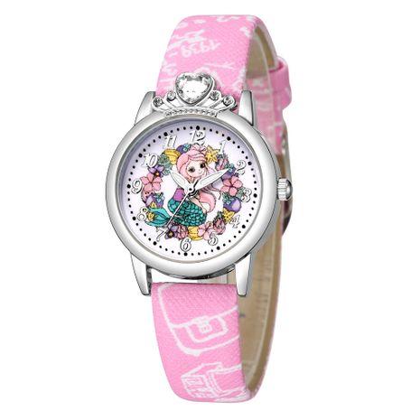 Cute princess pattern silver shell watch cartoon diamond-studded little girl belt watch  NHSS242865's discount tags