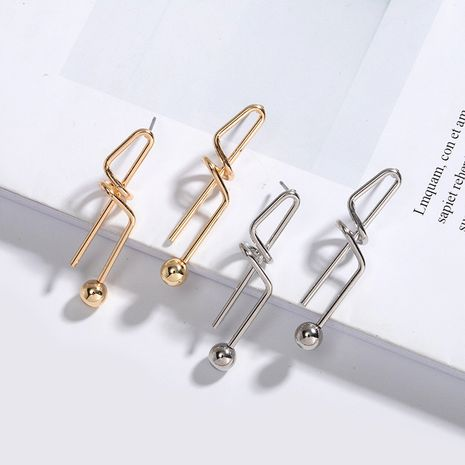 Korean niche irregular knotted metallic simple earrings for women NHAI242869's discount tags
