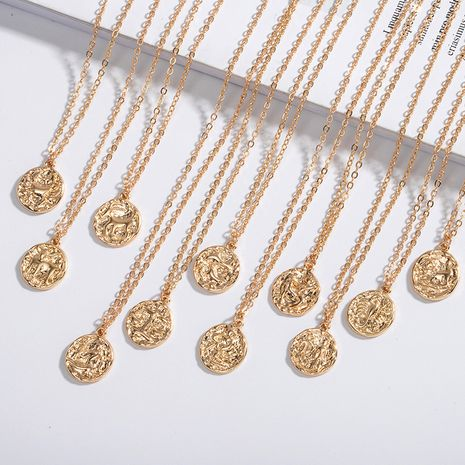 simple new constellation coin gold coin  necklace for women NHAI242870's discount tags