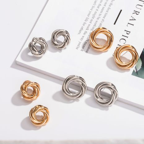 new trendy round multi-layer stacking circle minimalist style metallic earrings  NHAI242872's discount tags