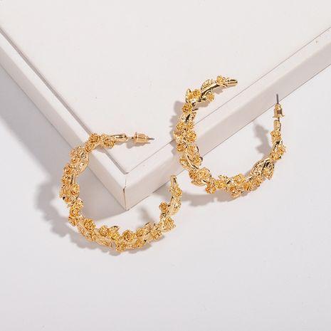 Korean exaggerated circle embossed flower earrings wholesale nihaojewelry NHAI242875's discount tags