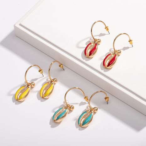 new marine life colorful wild C-shaped color shell earrings for women wholesale NHAI242876's discount tags