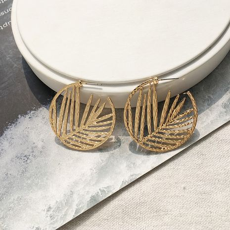 fashion new retro leaves simple  geometric C-shaped earrings wholesale nihaojewelry NHAI242882's discount tags