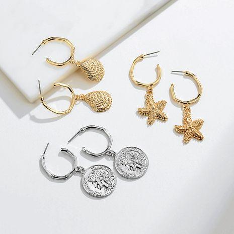 fashion alloy portrait shell retro marine life earrings for women NHAI242887's discount tags