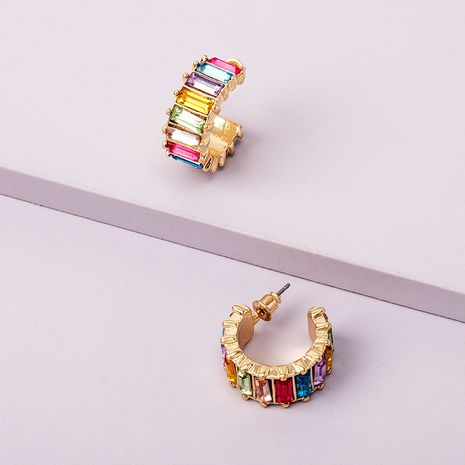 diamond rainbow ring short fashionable circle earrings wholesale nihaojewerly NHAI242888's discount tags
