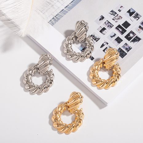 hot selling alloy corrugated threaded metal earrings wholesale nihaojewerly NHAI242892's discount tags