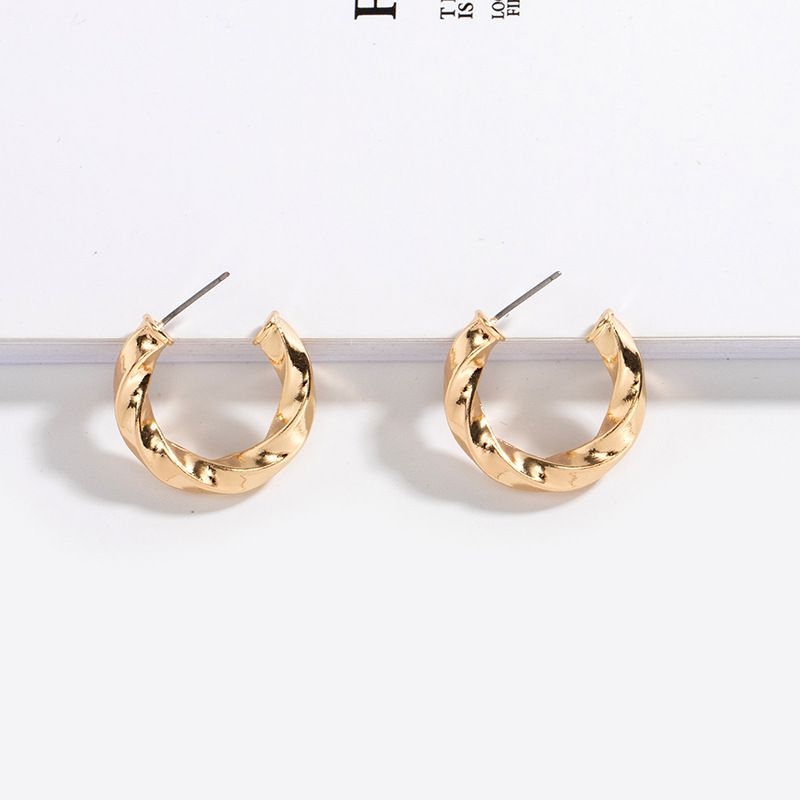 Fashion Korean simple round twisted exquisite alloy earrings for women NHAI242894