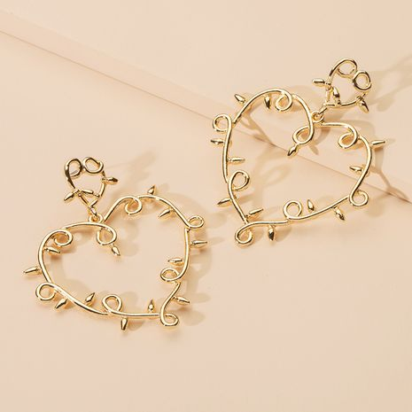 Fashion exaggerated retro hollow flower new trendy long heart-shaped women's earrings NHAI242895's discount tags