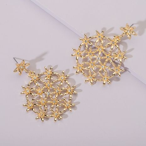 fashion creative hollow flower simple alloy long earrings wholesale nihaojewerly NHAI242896's discount tags