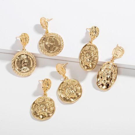 simple wild small new trend money coin queen head shape earrings NHAI242898's discount tags