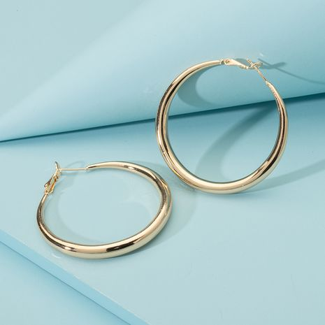 Simple exaggerated retro fashion Korean new glossy big circle earrings wholesale nihaojewerly NHAI242903's discount tags