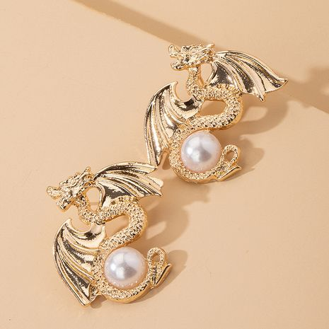 Dragon-shaped retro exaggerated long creative fun element earrings wholesale nihaojewerly NHAI242904's discount tags