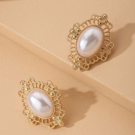 boucles d'oreilles en alliage de clip d'oreille élégant nostalgique rétro classique grande perle NHAI242909's discount tags