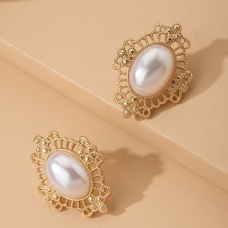 classic retro large pearl nostalgic elegant ear clip alloy earrings NHAI242909's discount tags