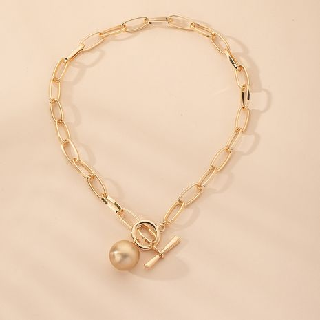 new trend fashion old scratched ball pendant thick clavicle chain  NHAI242912's discount tags