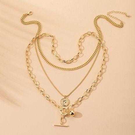 Korea simple  hip-hop multi-layer long tide necklace pendant wholesale NHAI242916's discount tags