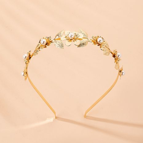 alloy hair ornaments pearls leaves post-hung headband  NHAI242919's discount tags