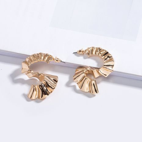 Geometric metal texture irregular trend alloy earrings for women wholesale NHAI242924's discount tags