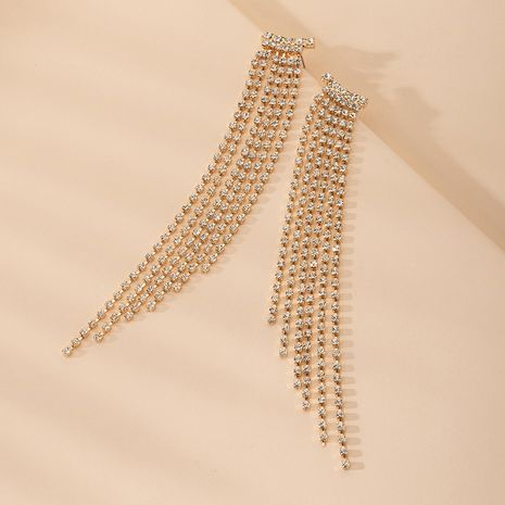 new diamond long pendant tassel earrings wholesale nihaojewelry NHAI242925's discount tags
