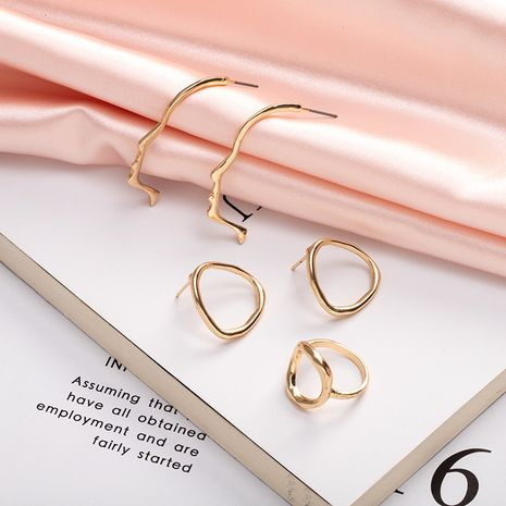 new Korean fashion simple geometric face irregular hand alloy earrings NHAI242928's discount tags