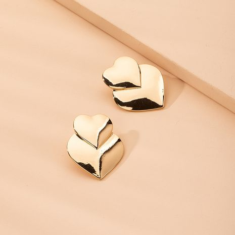 fashion simple mirror love-shaped women's double peach heart exaggerated metal sweet earrings for women NHAI242931's discount tags