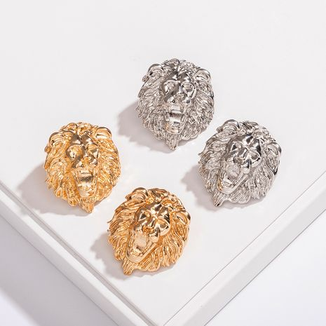 Wholesale new retro exaggerated round lion head punk earrings for women NHAI242943's discount tags