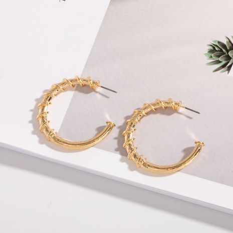 Korea C-shaped circle retro style half hoop earrings wholesale nihaojewelry NHAI242946's discount tags
