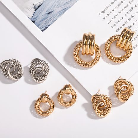 golden plated Metal hollow ring earrings wholesale nihaojewelry NHAI242950's discount tags