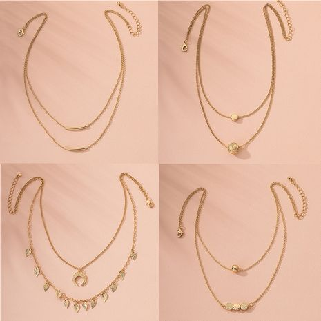Fashion multi-layer hip-hop women's simple new alloy necklace  wholesale NHAI242954's discount tags
