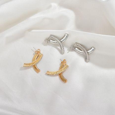 elegance full diamond thin cross earrings wholesale nihaojewerly NHBQ242960's discount tags