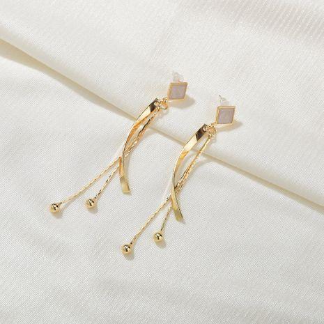 Fashion all-match geometric square long thin simple tassel alloy earrings NHBQ242961's discount tags