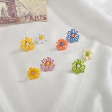 Fashion asymmetrical white fungus needle small daisy sweet flower women's earrings NHBQ242965's discount tags
