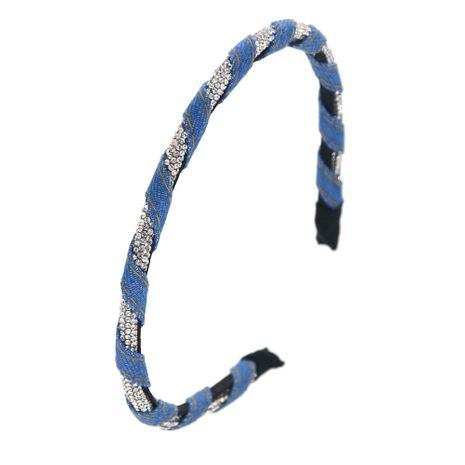 fashion denim winding headband crystal rhinestone shiny color matching narrow headband wholesale nihaojewelry NHCO242975's discount tags